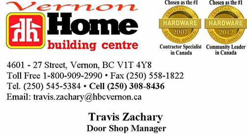 Home Building Centre's Travis Zachary Business Card