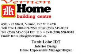 Home Building Centre - Tanis Lobe - Business Card