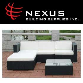 Nexus Rattan Furniture Outdoor Sofa and Logo