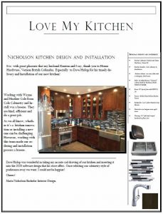 Satisfied Customer Letter - Kitchen Cabinet Install