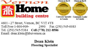 Home Building Centre Flooring Specialist Vernon Business Card