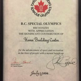 Special Olympic Contribution Certificate 2006