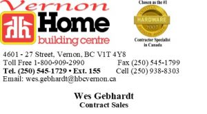 Wes Gebhardt HBC Vernon Business Card