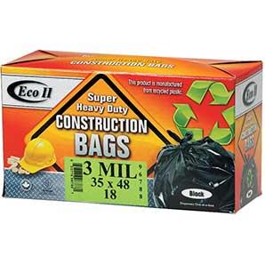 "Eco ii 18 Pack 35"" x 48"" 3.0ml Black Heavy Duty Garbage Bags"