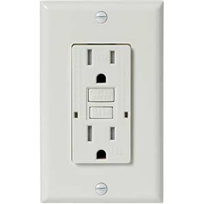 Electrical Devices 15amp white tamper resistant gfi receptacle with plate